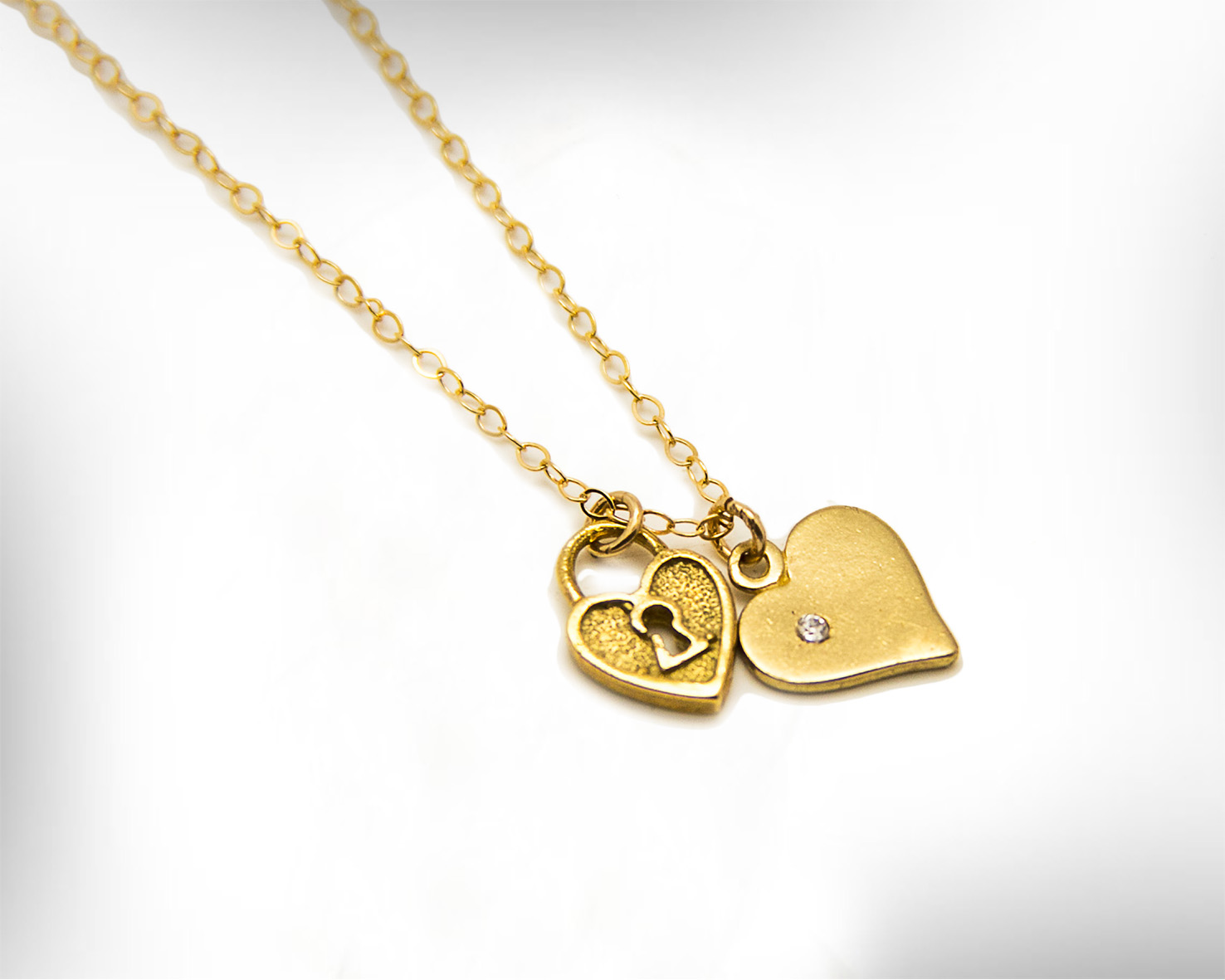 Golden Heart & Lock Pendants Necklace