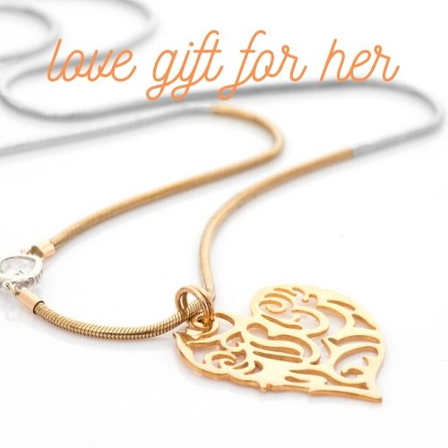 Gold Lace Pendant Necklace - Unique Heart-Shaped Pendant
