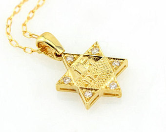 Star of David Diamond Pendant Necklace in 14k Gold, Jewish Religious Jewelry, Jewish Diamond Star, Bat Mitzvah Necklace, Magen David Charm.