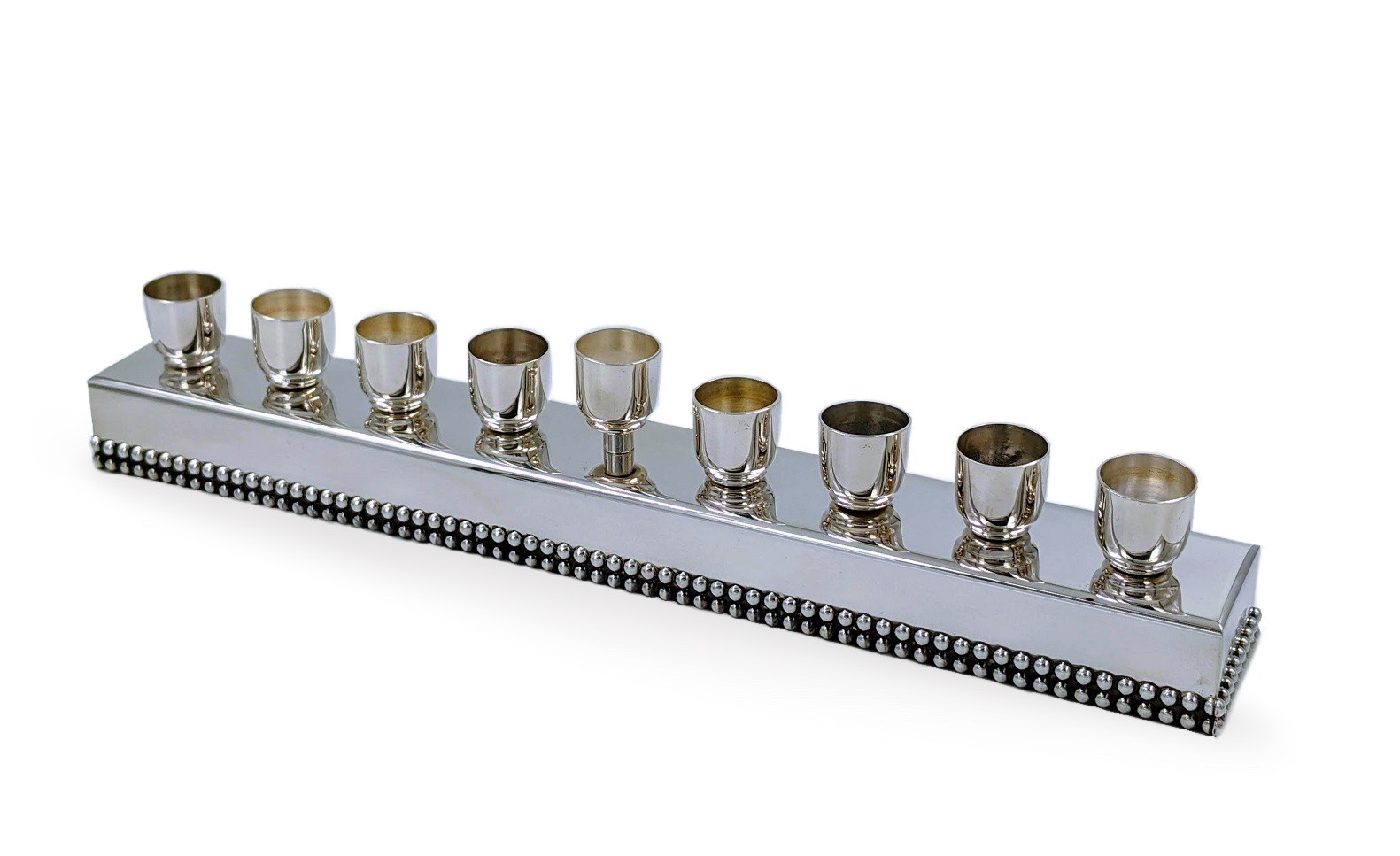 Silver Hanukkah Menorah with beaded decoration