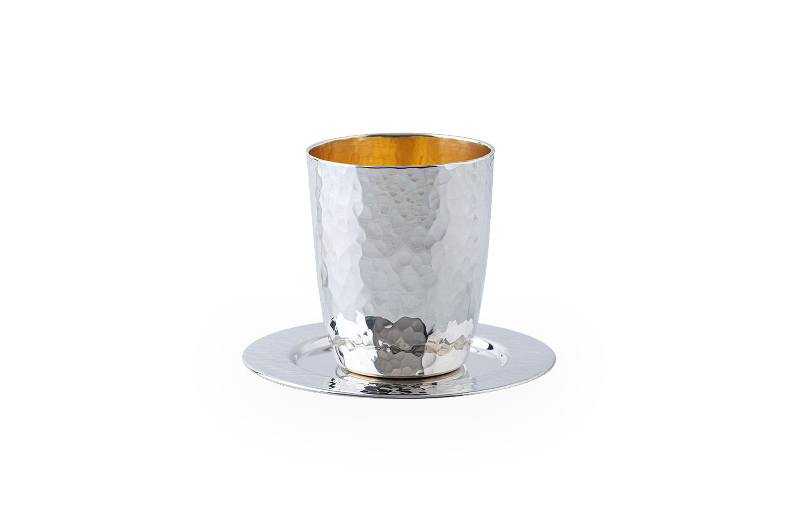 Sterling Silver hammered Kiddush set, Classic Design, Cup With Matching Coaster