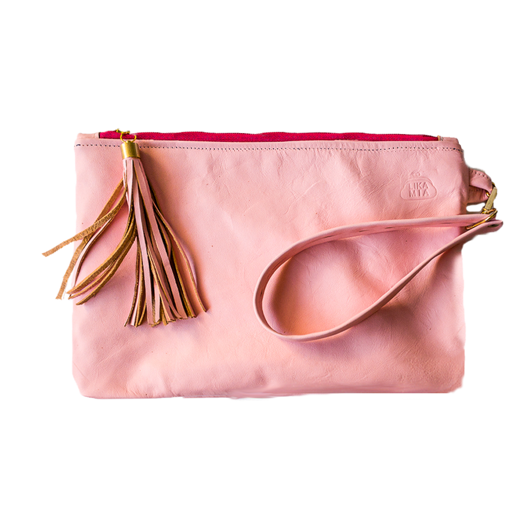 Pale Pink Zipper Clutch - Coupon