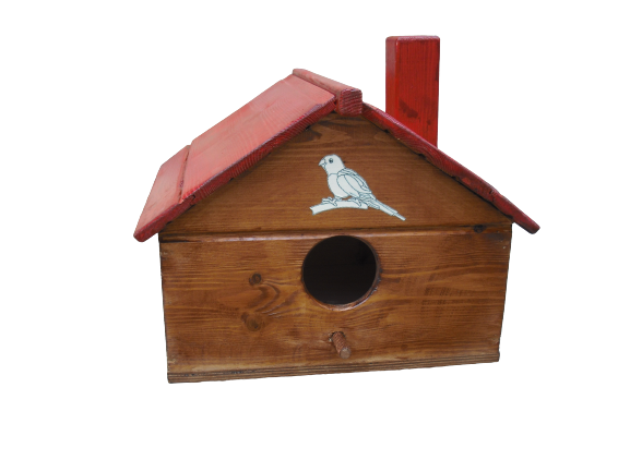 Habitat for a pair of parrots, contents, cage, nesting house, habitat, bird, box, winged animals, wooden, yard