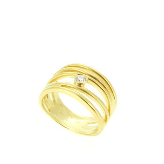 14K Coil Ring with solitaire Diamond