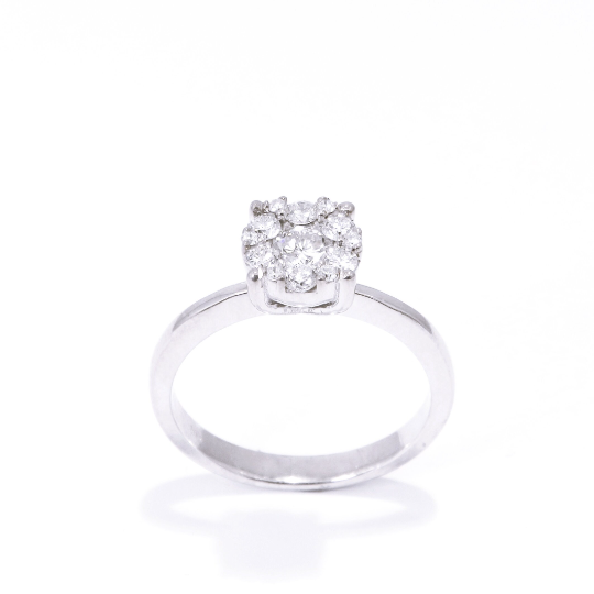 Diamond engagement ring, Engagement Ring, 14K White Gold Ring, Proposal ring, invisible setting