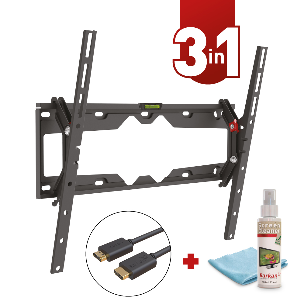 Barkan TV Wall Mount, 19 - 65 inch Tilt with free HDMI Cable and Screen Cleaner
