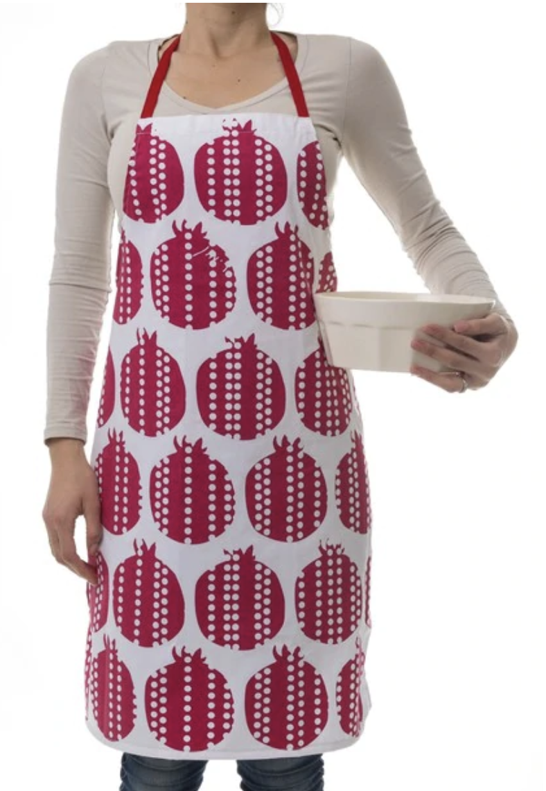 Pomegranates design red apron | Barbara Shaw Gifts