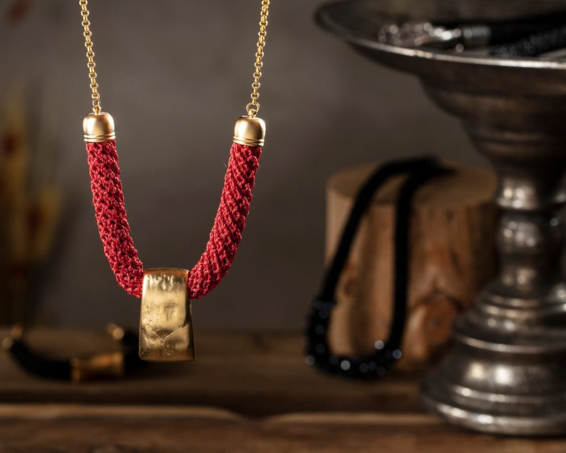 Gold and Red Fabric Necklace