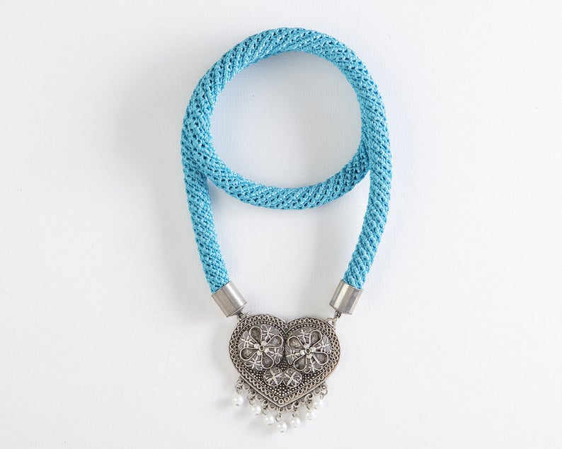 Light blue silk necklace - oxidized metal filagree heart & pearls pendant