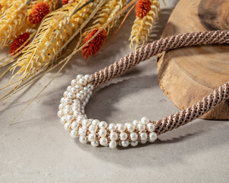 Wedding beige necklace with white pearl beads