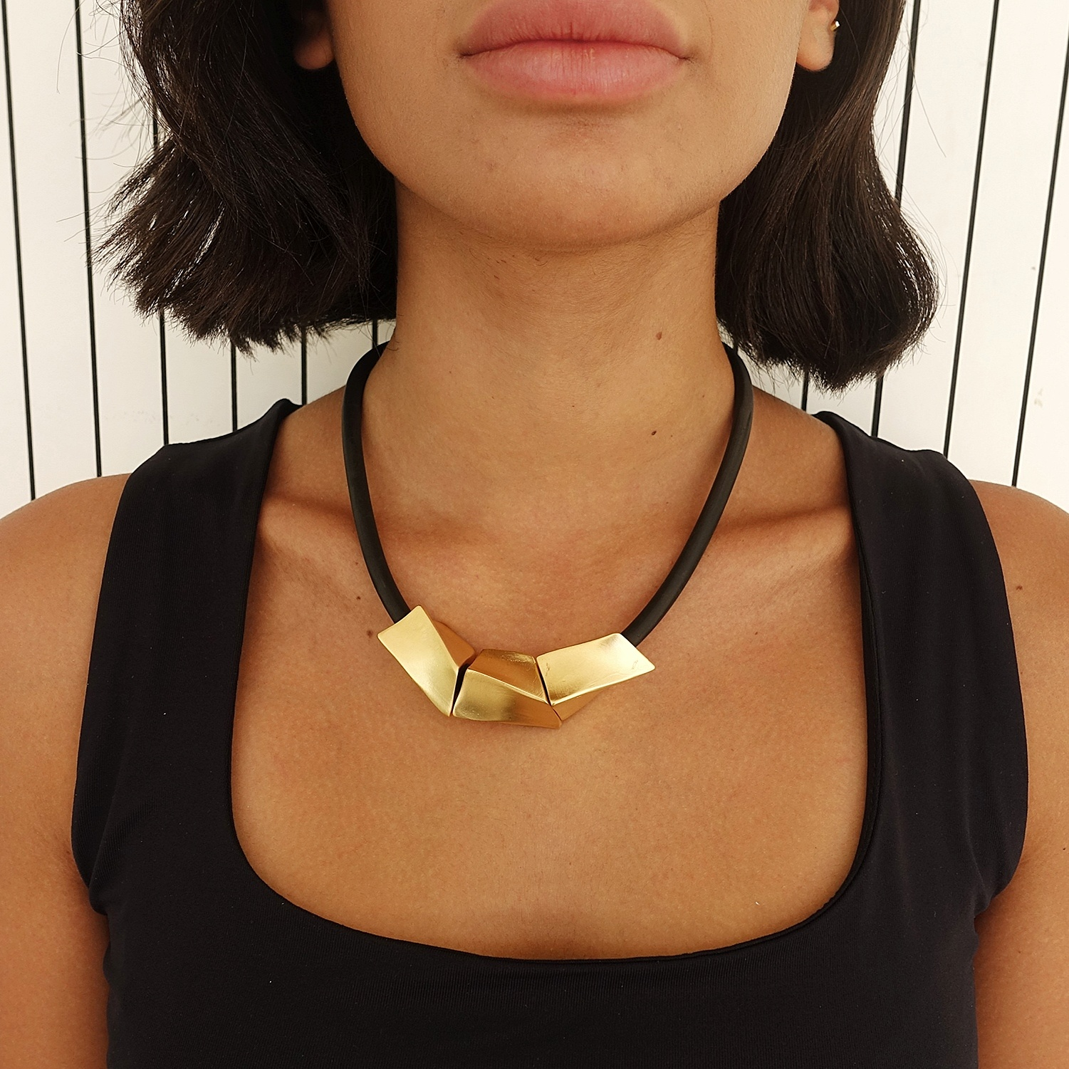 Black and gold statement bib necklace