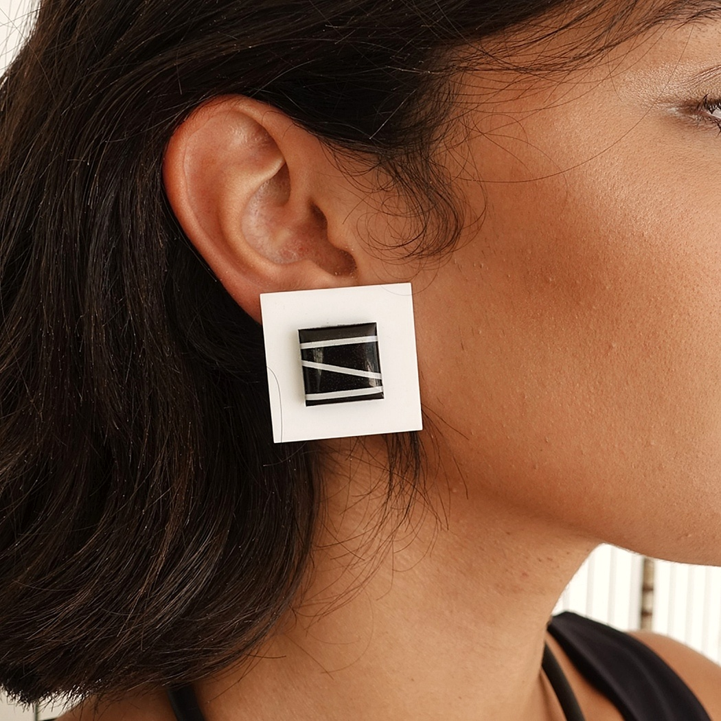 Black and white square earrings