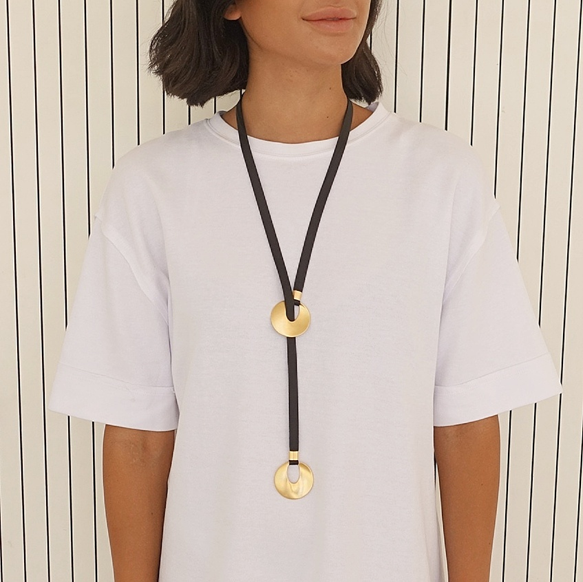 Long lariat necklace, Black and gold Y necklace