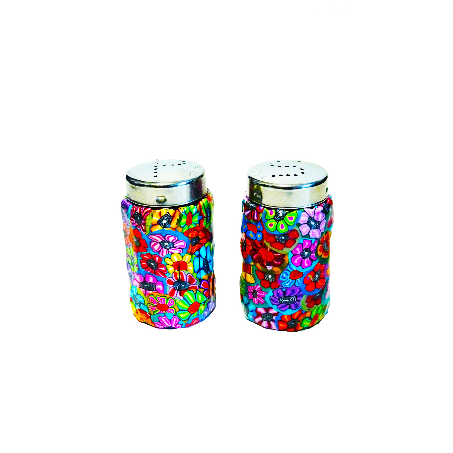Colorful and Unique Glass and Polymer Clay Salt And Pepper Shakers
