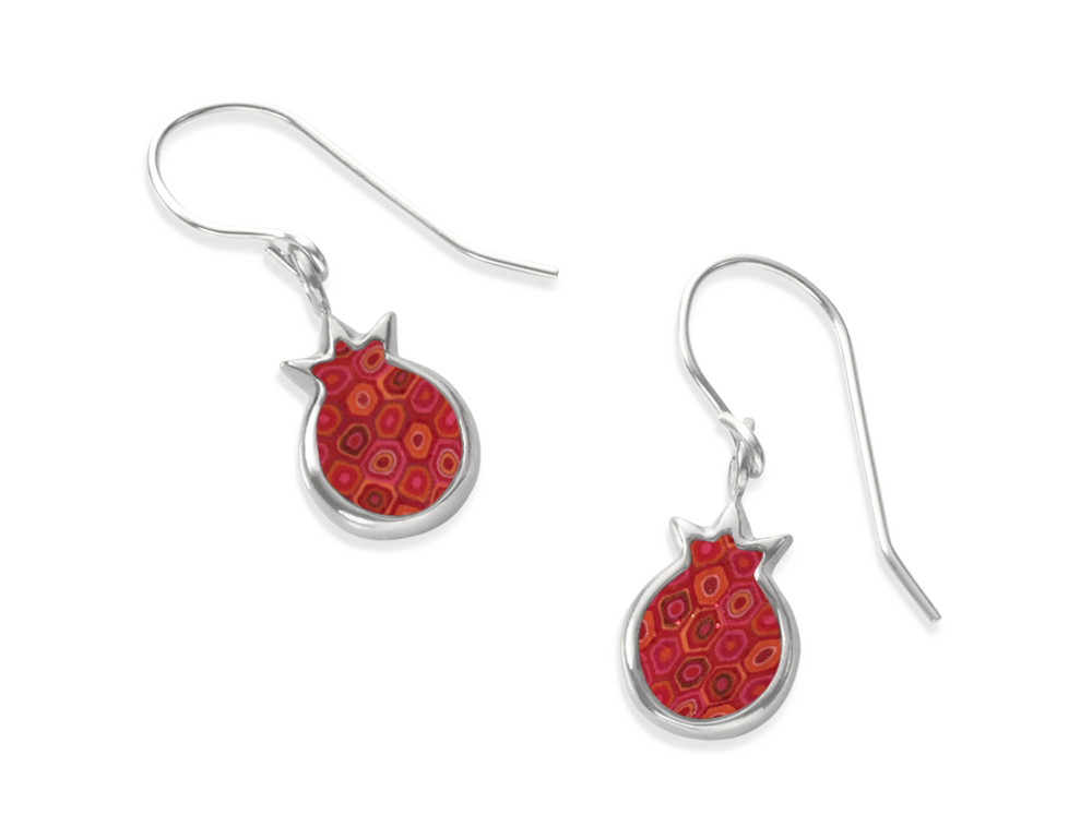 SILVER POMEGRANATE CHARM EARRINGS