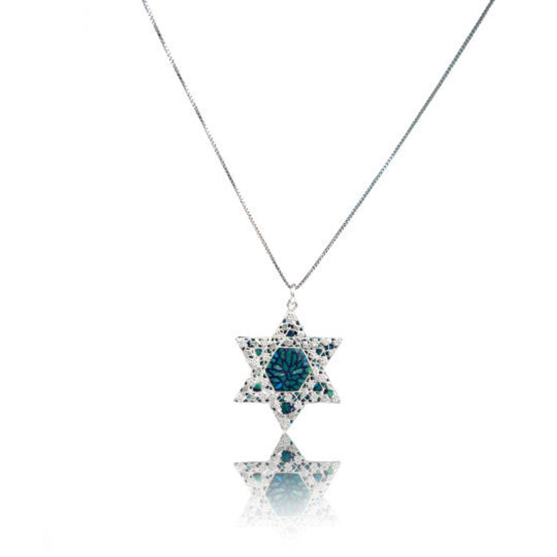 Green Star of David Necklace 925 Sterling Silver, Israeli Jewelry