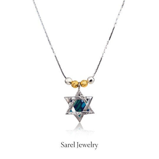 Star of David Necklace 925 Sterling Silver & Gold, Bat Mitzvah Gift for Girl