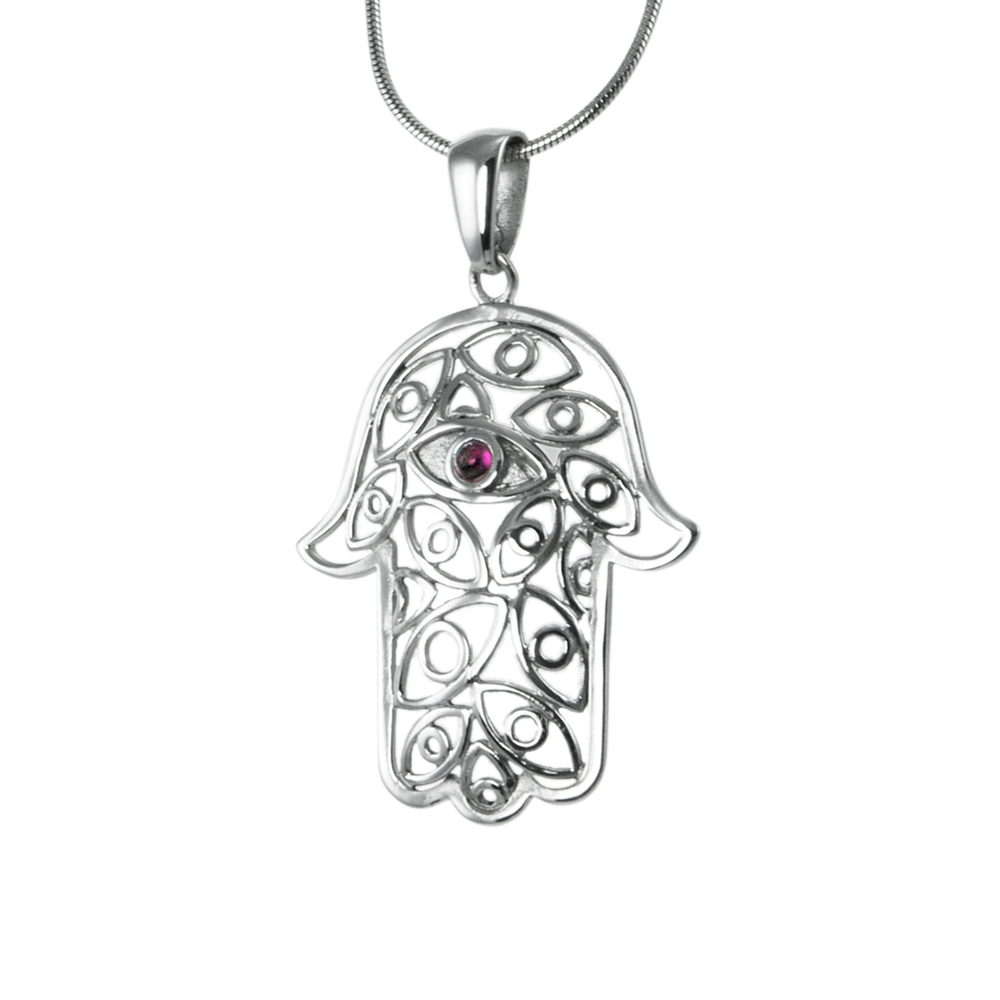 Hamsa Pendant Inlaid with Red Garnet Stone
