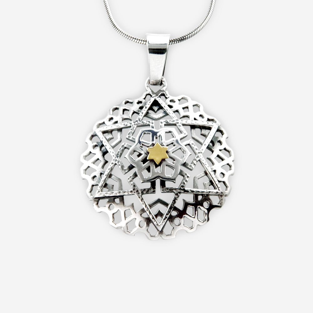 Star of David Pendant Silver and Gold