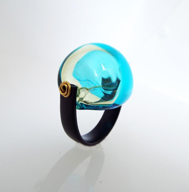Turquoise-glass chunky cocktail bubble ring