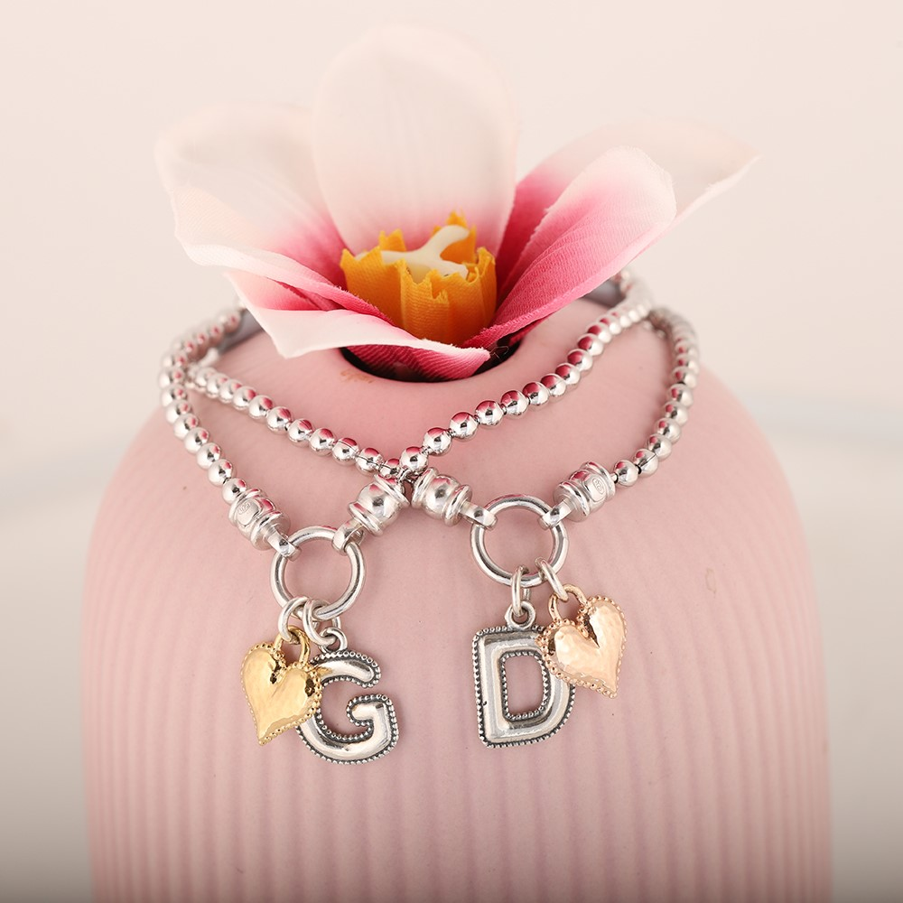 Stretch Charm Bracelet with Heart and Alphabet Charms