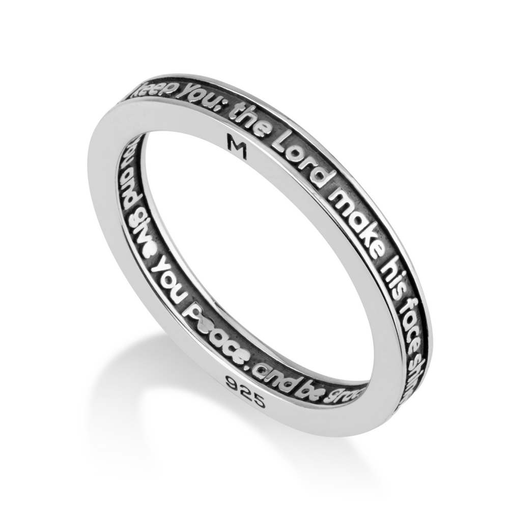 925 Sterling Silver Ring Embossed Prayer Lord Bless you Jewelry Gift New