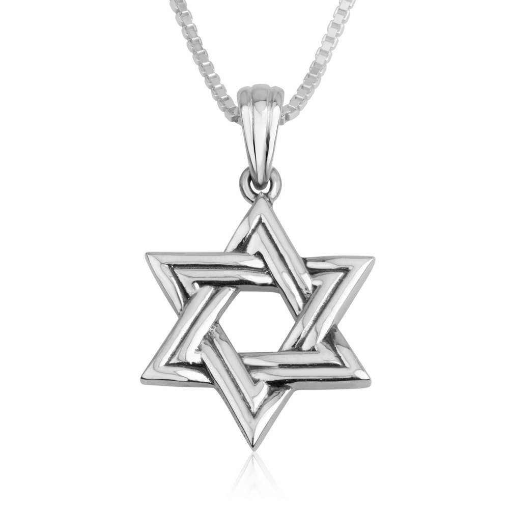 Classic David Star Sterling Silver Pendant Contemporary Jewelry Jewish Holy Land