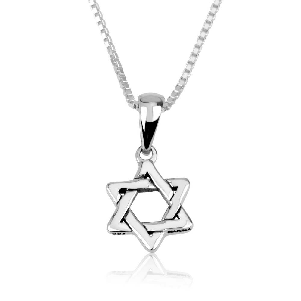 Classic Star David Intertwined Triangles Silver Pendant Jewelry Holy Land Gift
