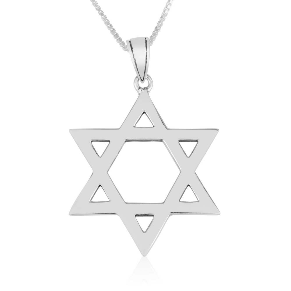 Classic Star David Pendant Sterling Silver Smooth Polished Jewelry Holy Land New