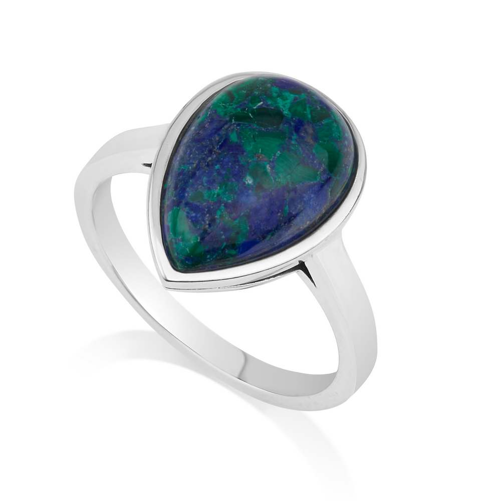 Drop Shaped Eilat Stone Ring Sterling Silver Elegant Classic Fashionable Jewelry