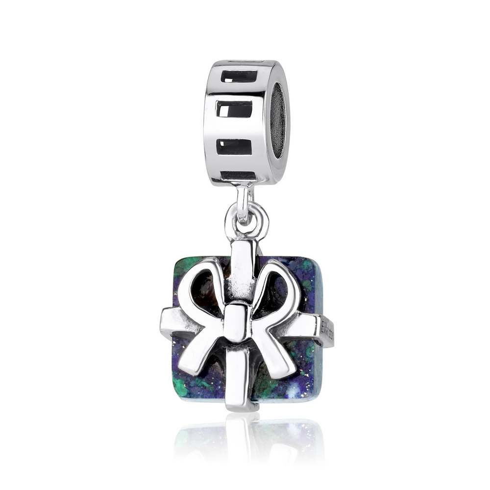 Eilat Stone Square Shaped Pendant Charm Sterling Silver Classy Jewelry Holy Land