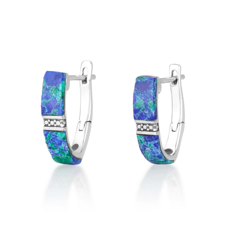 Eilat stone earrings sterling silver and diamond shaped artwork