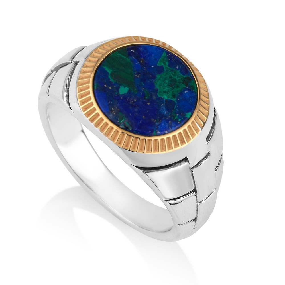 Eilat stone inserted in Golden frame with lined artwork big ring sterling silver