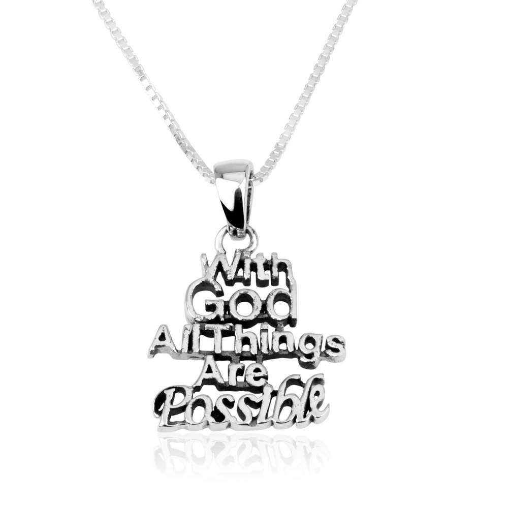 God All Things Possible Cutout Words Silver Pendant Jewelry Holy Land Gift Box