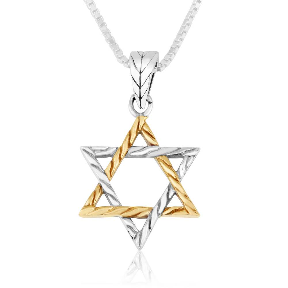 Gold Silver Star of David Pendant
