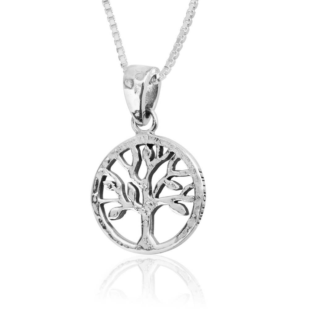 Hammered Round Cutout Tree Life Silver Pendant Garden Eden Jewelry Holy Land New