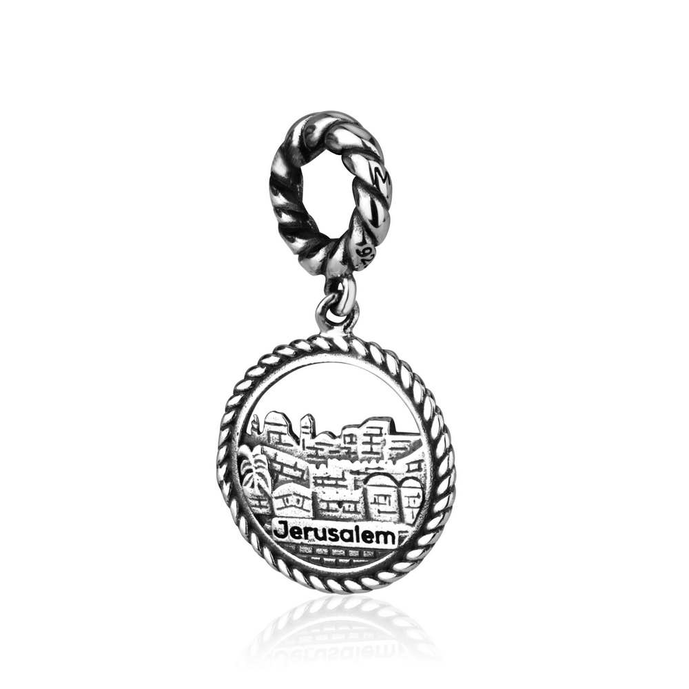 Jerusalem Old City Engraved Blessings Charm Pendant Silver Holy Land Jewelry New