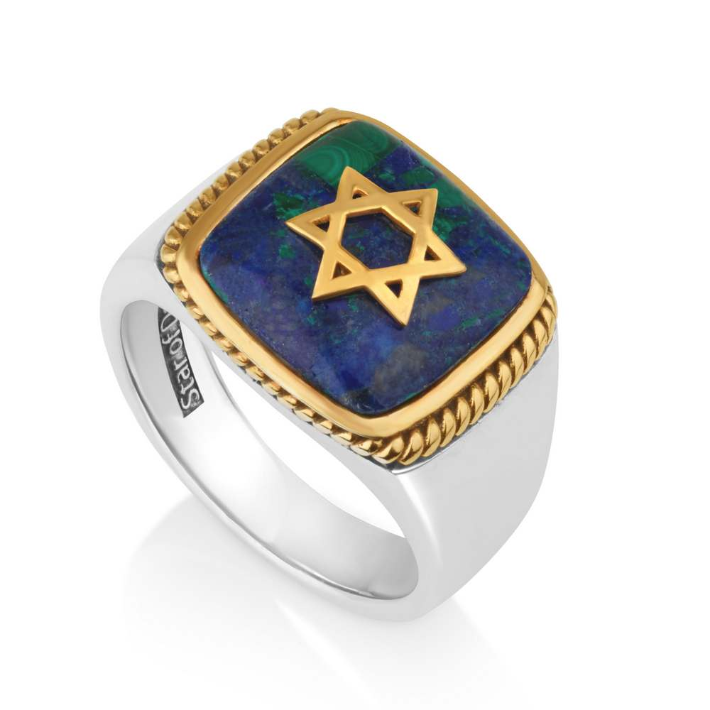 Men Ring Azurite Stone Gold Plated Star David 925 Silver Jewelry New