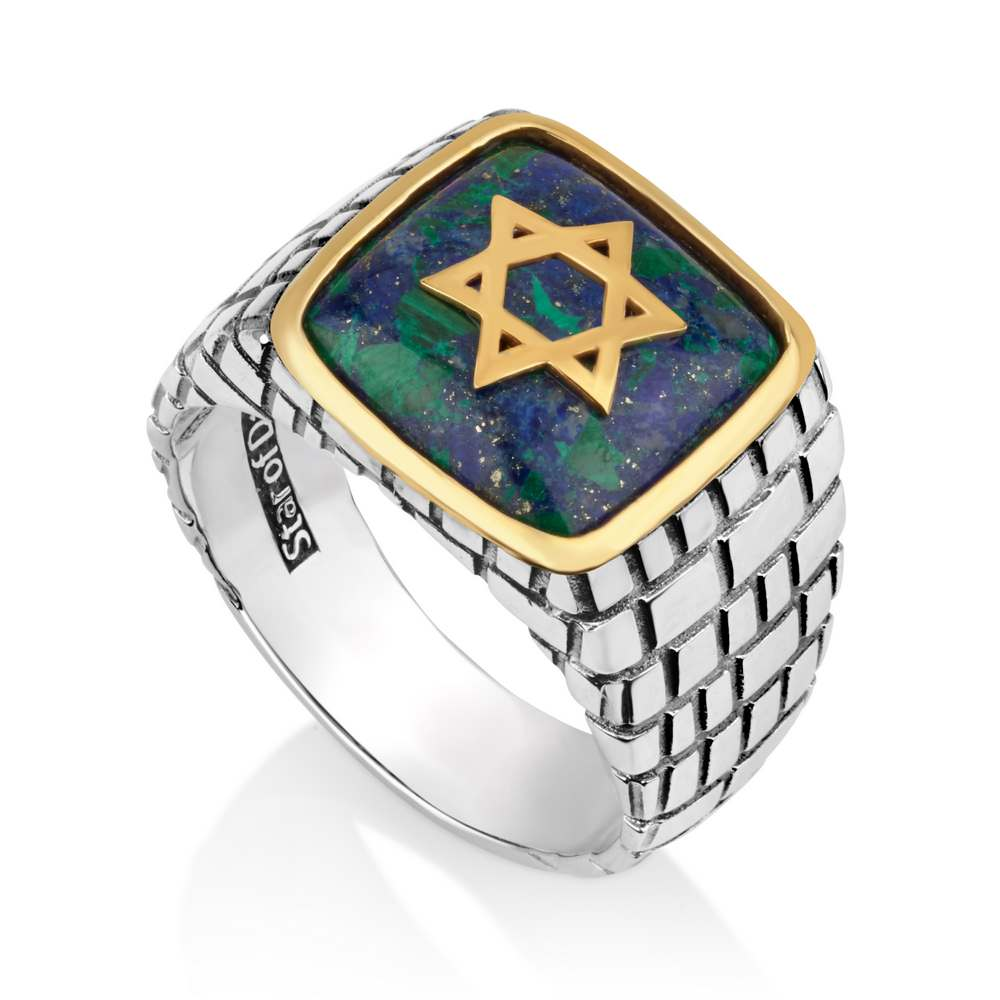 Men Ring Azurite Stone Gold Plated Star David Westen Wall 925 Silver Jewelry New
