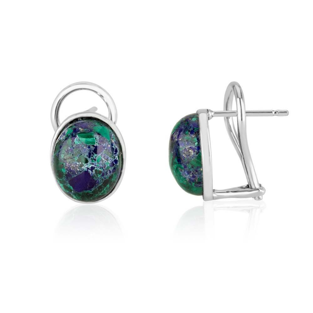 Oval Eilat Stone Sterling Silver Earrings Israel Holy Land Classic Jewelry Gift