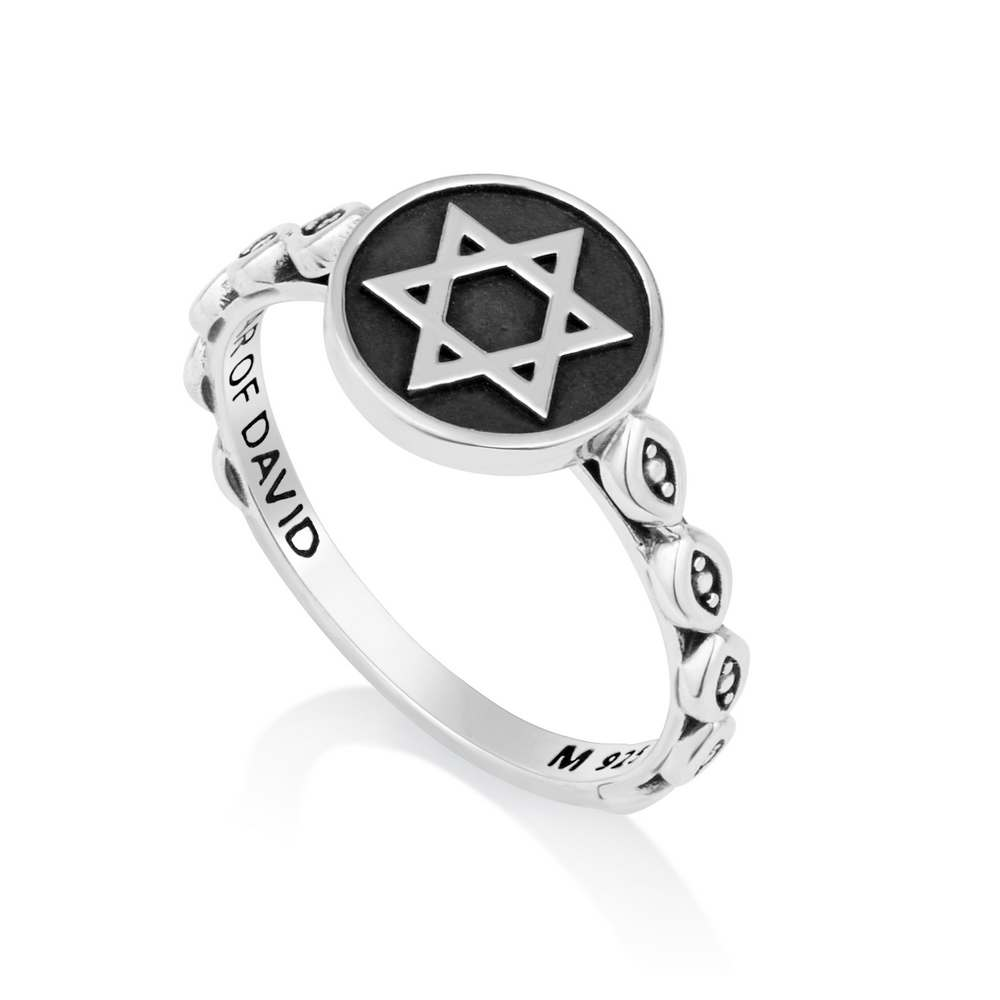 Oxidized Silver Sterling Ring Star David Comprised Band Covered Jewish Jewelry