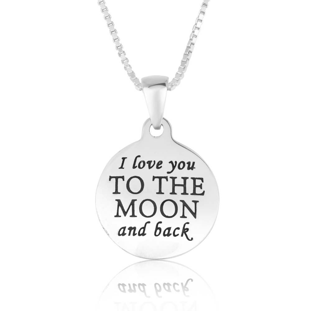 Round Shape I Love You Moon Back Engraved Silver Pendant Jewelry Holy Land New