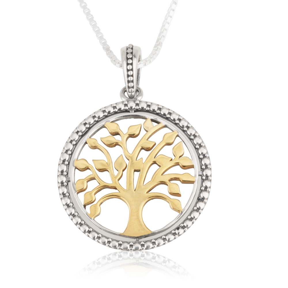 Round Tree Life Gold Plated Silver Handcrafted Diamond Shaped Jewelry Holy Land