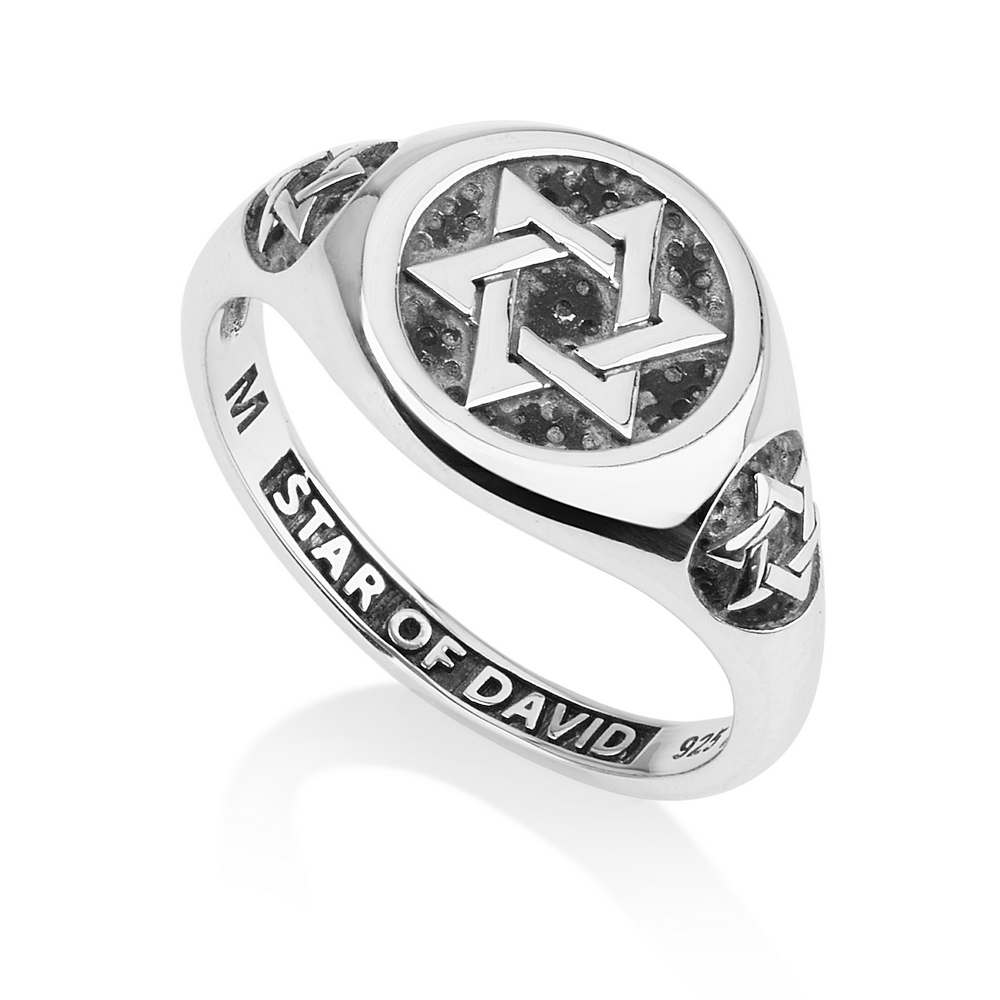 Signet Silver Ring Star David Embossed Oxidized Jewish Handcrafted Jewelry Gift