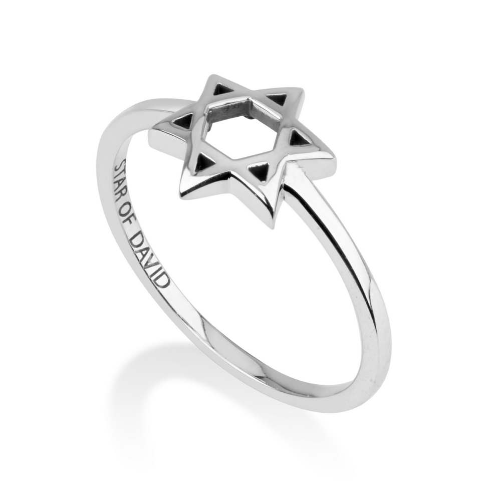 Silver Domed David Star Ring Emblazoned Polished Sterling Handcrafted Jewelry