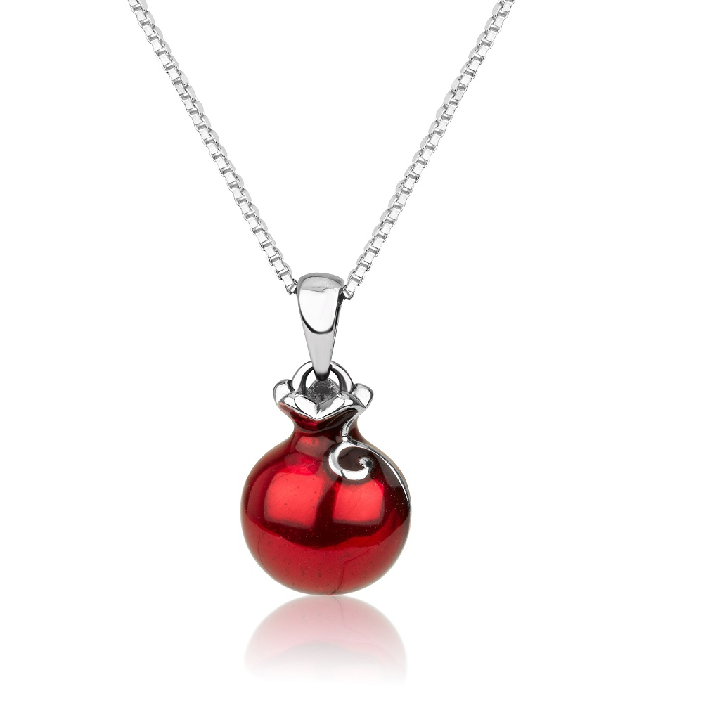 Silver Swirl Pomegranate Necklace