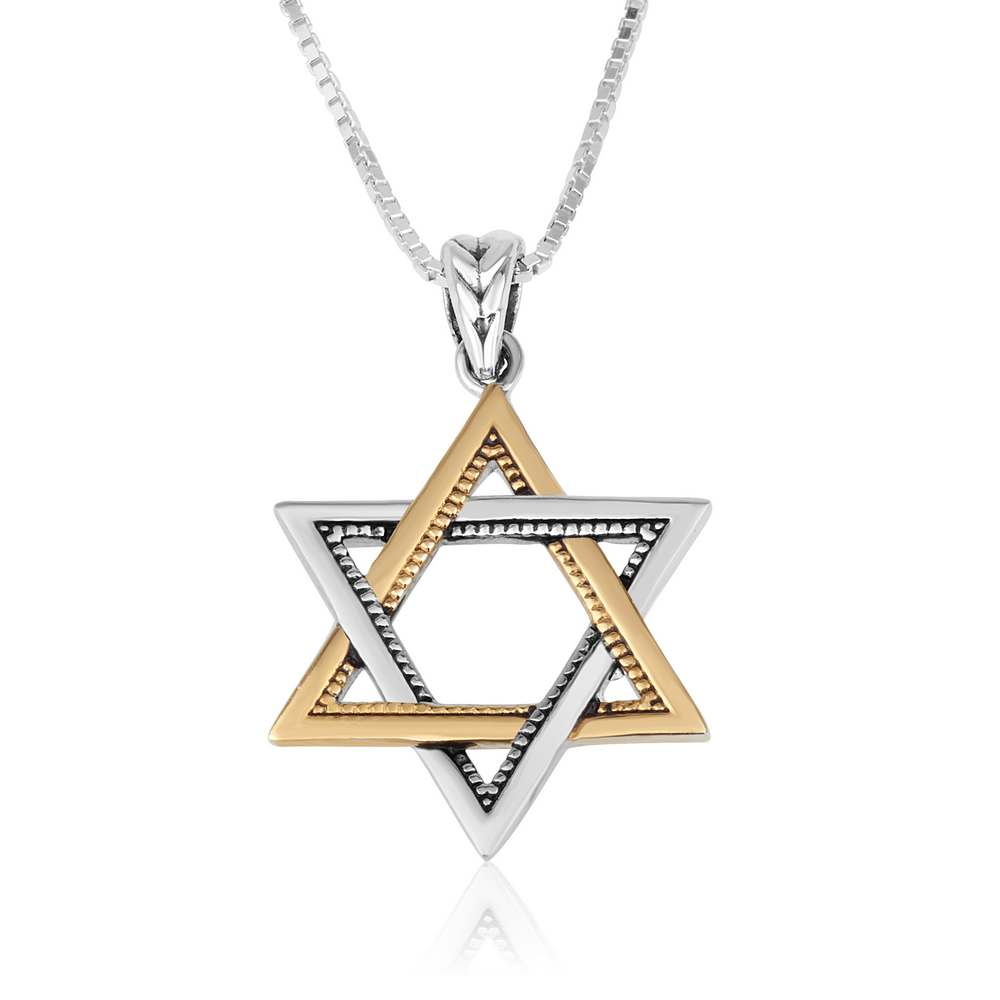 Star David 925 Sterling Silver Polished Gold Plated Pendant Jewelry Holy Land