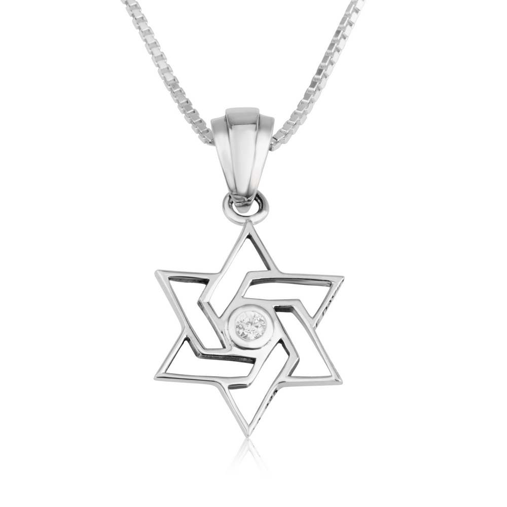 Star David Zircon Stones Solid Sterling Silver Jewelry Holy Land Gift Box New