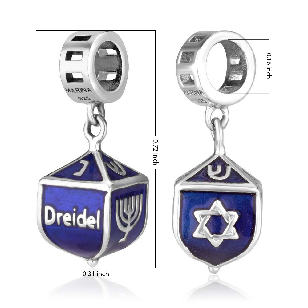 Sterling Silver Dreidel Hang Bead Charm With Blue Enamel