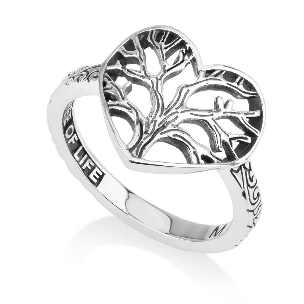 Tree Life Heart Shaped Ring Floral Filigree Garden Eden Sterling Silver Jewelry